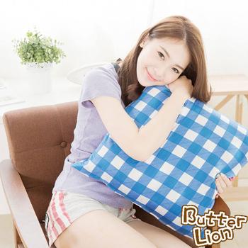 《奶油獅》格紋系列-台灣製造-100%精梳純棉可拆洗方型抱枕(含枕心)50CM(藍)
