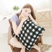 《奶油獅》格紋系列-台灣製造-100%精梳純棉方型抱枕布套(黑)