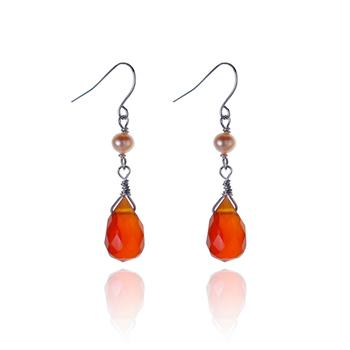 大東山珠寶 愛情物語氣質珍珠耳環-紅瑪瑙