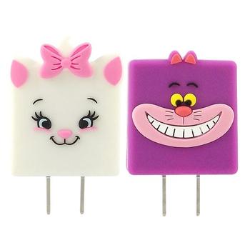 【Disney】可愛造型充電轉接插頭 USB充電器-柴郡貓/瑪麗貓(瑪麗貓)