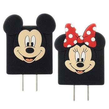 【Disney】可愛造型充電轉接插頭 USB充電器-米奇/米妮(米妮)