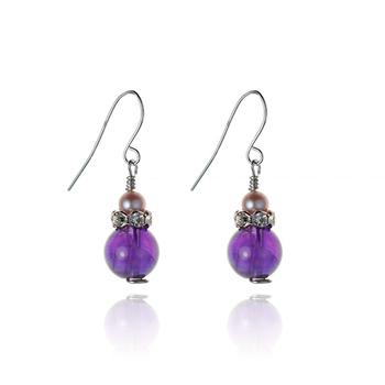 大東山珠寶Luperla 珍珠耳環-紫水晶