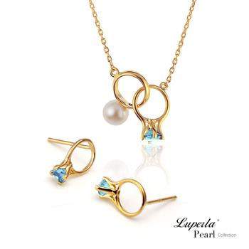 大東山珠寶Luperla 頸間的悸動 湖水藍珍珠純銀項鍊耳環套組