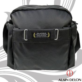 法國 ALAIN DELON 亞蘭德倫 防潑水帆布休閒側背包(黑)