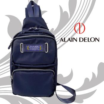 法國 ALAIN DELON 亞蘭德倫 防潑水帆布休閒斜側背包(藍)