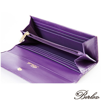 BERLOX 法式經典系列Sweet艾菲爾菱格長夾- 四色(絢麗紫)