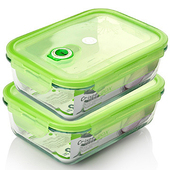 《品愛生活》長方形玻璃密封保鮮盒-1200ml兩件組