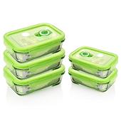 《品愛生活》長方型玻璃密封保鮮盒-400ml五件組