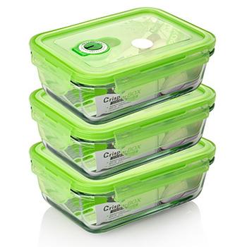 品愛生活 長方型玻璃密封保鮮盒-550ml三件組