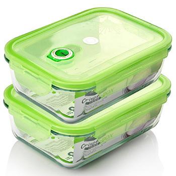 《品愛生活》長方型玻璃密封保鮮盒-1700ml兩件組