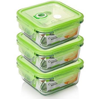 品愛生活 正方型玻璃密封保鮮盒-700ml三件組