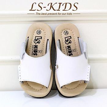 LS-KIDS 手工精緻學步鞋-休閒皮拖-牛奶白(全真皮)(16號)