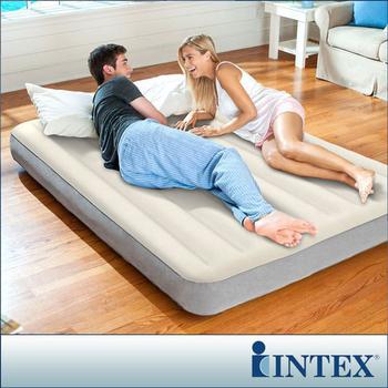 ★結帳現折★INTEX 新型氣柱-雙人加大植絨充氣床墊 (寬152cm)