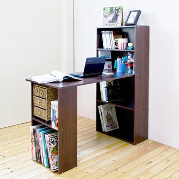 Hopma 水漾4+2書櫃型書桌-四色可選(胡桃木色)