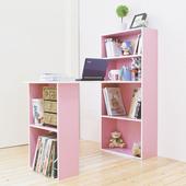 《Hopma》水漾4+2書櫃型書桌(白配粉紅)