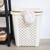 《SONA PLUS》古典藤蔓附蓋洗衣籃-57公升(米白)