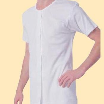 樂齡 日本製男用前開式自粘內衣 - 半袖 穿脫簡單設計(M)