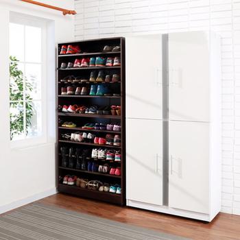 《BuyJM》加深型透氣鏡面四門鞋櫃(2色可選)(胡桃色)