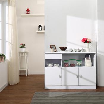 防潑水三門一抽廚房櫃/餐櫃/收納櫃(白色)