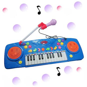 【多功能】微笑玩具麥克風電子琴(藍)