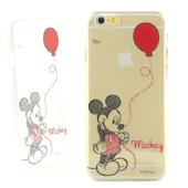 《Disney》iPhone 6 彩繪手繪風透明保護硬殼-球系列(米奇氣球)