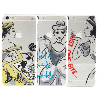 Disney iPhone 6 plus 彩繪公主系列透明保護硬殼-水墨風(貝兒)