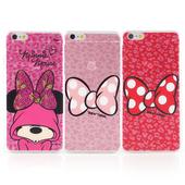 《Disney》iPhone 6 plus 彩繪豹紋系列透明保護硬殼(帽T米妮)