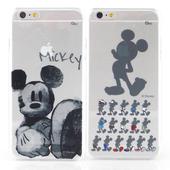 《Disney》iPhone 6 plus 彩繪手繪風透明保護硬殼-剪影米奇/水墨米奇(剪影米奇)