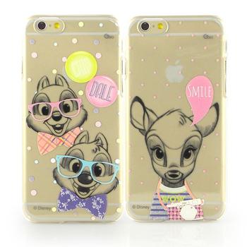 Disney iPhone 6 彩繪素描風透明保護硬殼-時尚斑比/時尚奇奇蒂蒂(時尚斑比)