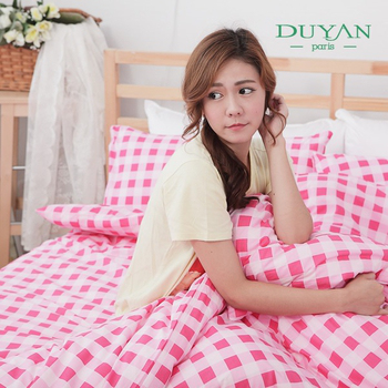 DUYAN 《輕日寓所-紅粉》雙人加大三件式100%純棉床包枕套組