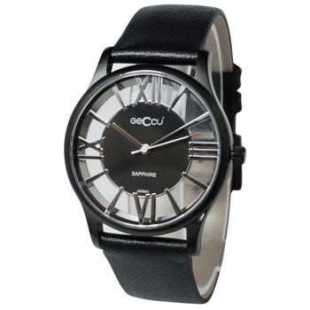 GECCU GU-G4152-IP鏤空系列-雙面鏤空羅馬字時尚簡約皮帶腕錶(星光銀)