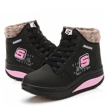 Alice韓系館 【預購】冬氛必備獨家設計內加厚靴型健走鞋-黑(黑36)