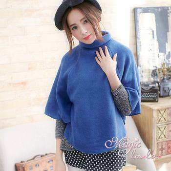 Magic la.la. 中大尺碼 高領刷絨寬袖上衣(優雅寶藍)A448(優雅寶藍F)