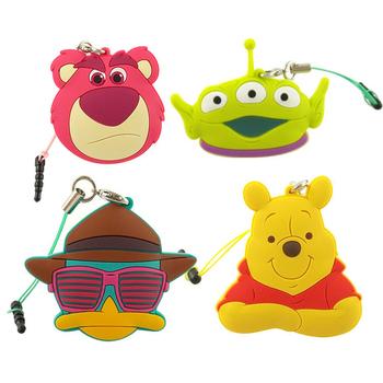 《Disney》多功能可愛造型夾子式耳機防塵塞捲線器吊飾-經典系列(熊抱哥)