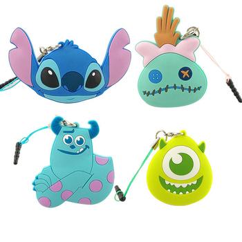 《Disney》多功能可愛造型夾子式耳機防塵塞捲線器吊飾-經典系列(史迪奇)