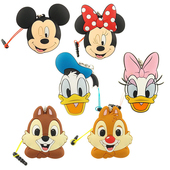 《Disney》多功能可愛造型夾子式耳機防塵塞捲線器吊飾-經典系列(米奇)