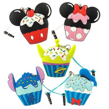 Disney 多功能可愛造型夾子式耳機防塵塞捲線器吊飾-蛋糕系列(米奇)