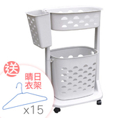 《SONA PLUS》舒適雙層移動式洗衣籃 加送 台製晴日衣架15支