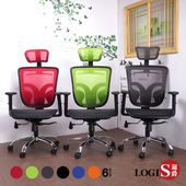 《LOGIS》翼椅背壓框墊全網電腦椅/辦公椅/主管椅6色(綠鐵腳)