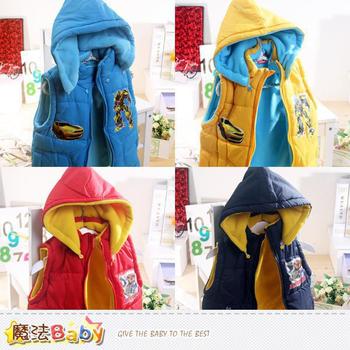 魔法Baby 變型金剛厚鋪棉帽可拆背心外套(A.B.C.D) ~k38408(A水藍/100)