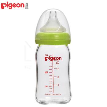 日本Pigeon 貝親 母乳實感寬口玻璃奶瓶【綠160ml】