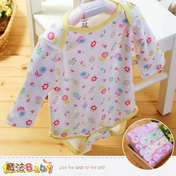魔法Baby 純棉長袖包屁衣4件加手帕6條組合 多種圖案不挑款隨機出貨 ~k38224(12~18M)