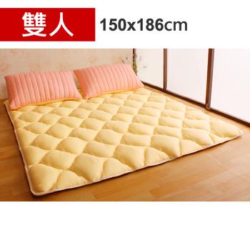 Homebeauty 日式羊毛保暖收納睡墊床墊-雙人(草莓起司)