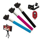 【送章魚腳架】7段式手持自拍桿+送第3代無線自拍器(粉色)