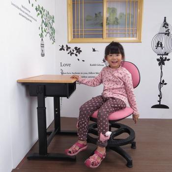 ★結帳現折★LOGIS 卡洛普可調式課桌椅組/兒童桌椅/成長桌椅(黑桌粉椅)