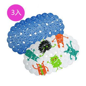 伊集思 3D貝殼環保按摩浴室防滑腳踏墊(3入)
