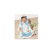 《蘿林嚴選》純棉毛巾可愛卡通造形斗蓬浴袍1入(藍企鵝)
