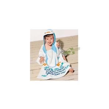 蘿林嚴選 純棉毛巾可愛卡通造形斗蓬浴袍1入(藍企鵝)