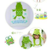 《蘿林嚴選》純棉毛巾可愛卡通造形斗蓬浴袍1入(綠青蛙)