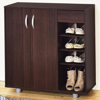 Hopma 二門一抽開放式鞋櫃(胡桃木色)
